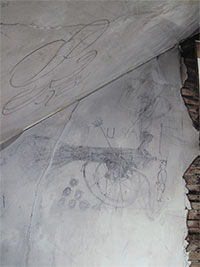 Civil War charcoal drawing of cannon on attic wall of Historic Blenheim house.