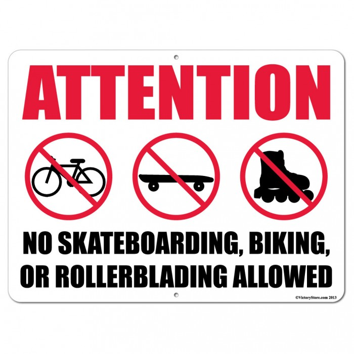 attention-no-skateboarding-biking-or-rollerblading-allowed-stock-aluminum-sign-18x24