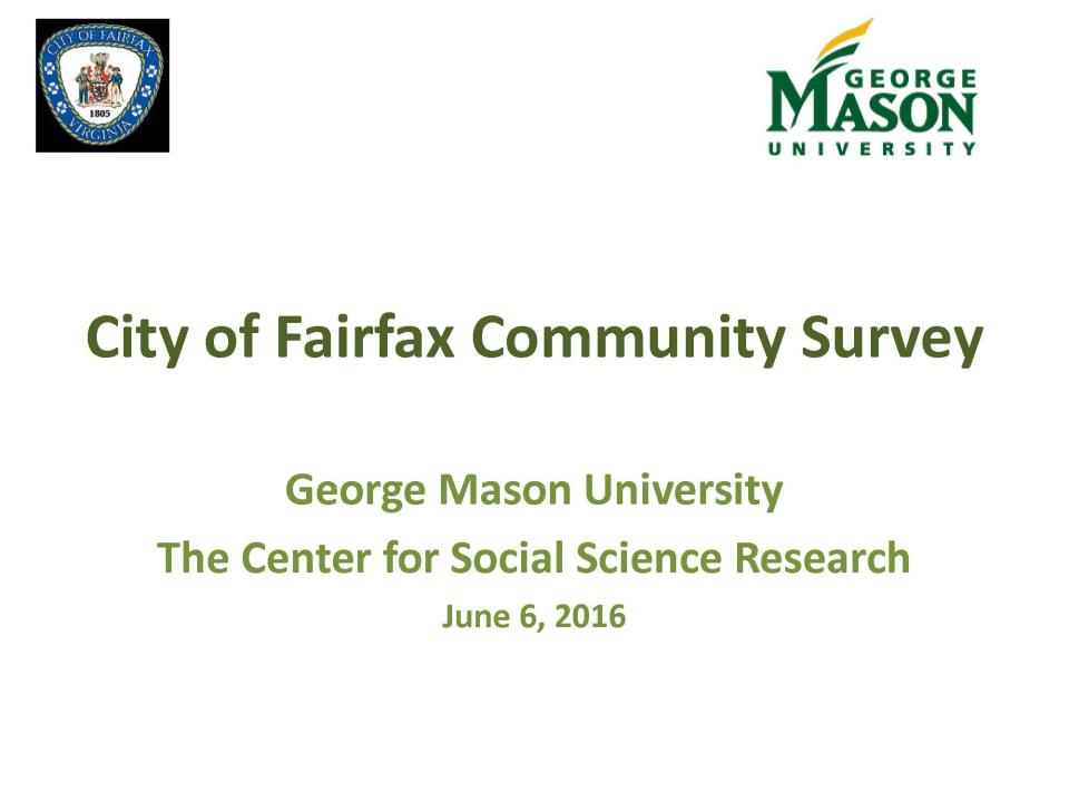 First slide of Powerpoint presentation of Community Survey Results