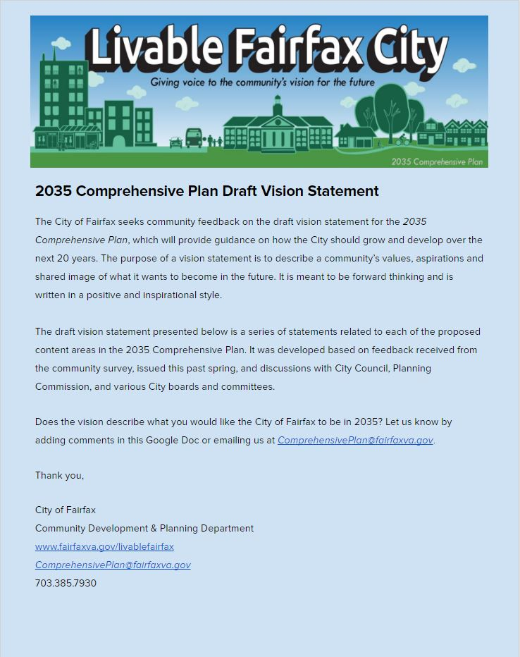 2035 Comprehensive Plan Draft Vision Statement