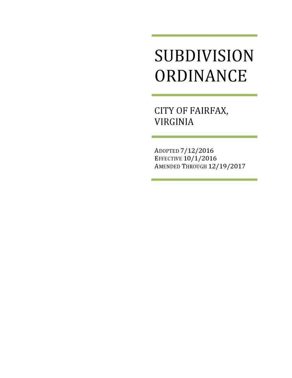 Subdivision Ordinance