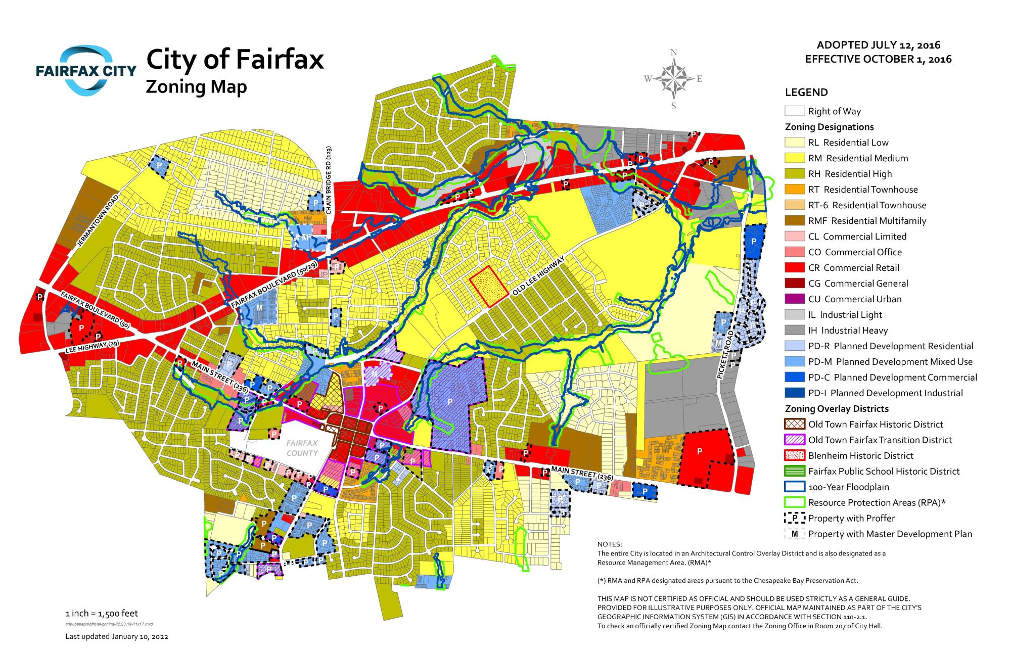 Zoning Map City Of Fairfax VA - Check off map