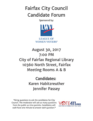 Candidates Night 08 2017 League of Women Voters Fairfax Area