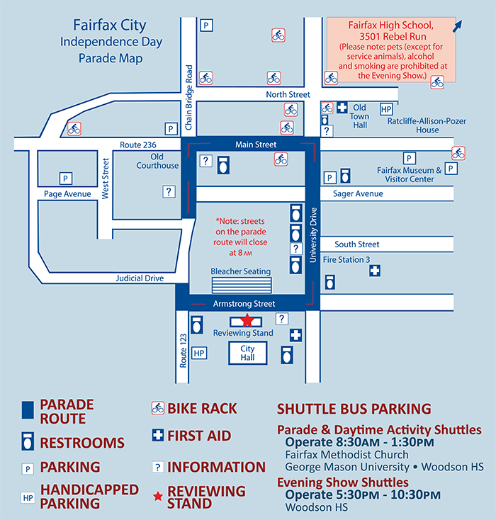 Fairfax City 4th of July 2019 Map