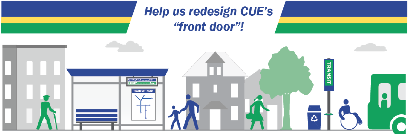 CUE home page banner - survey & graphic