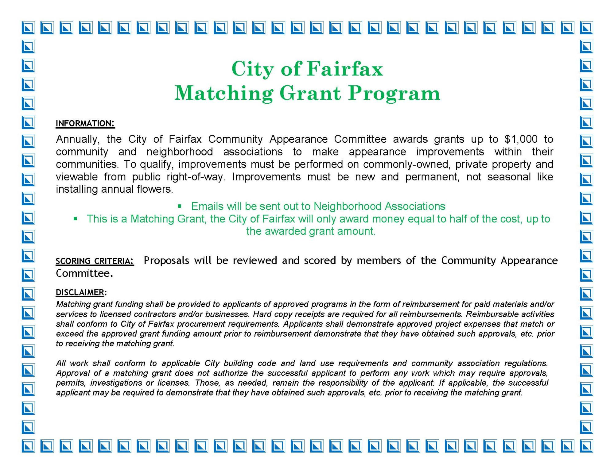 Matching Grant Program City of Fairfax Residence Ad