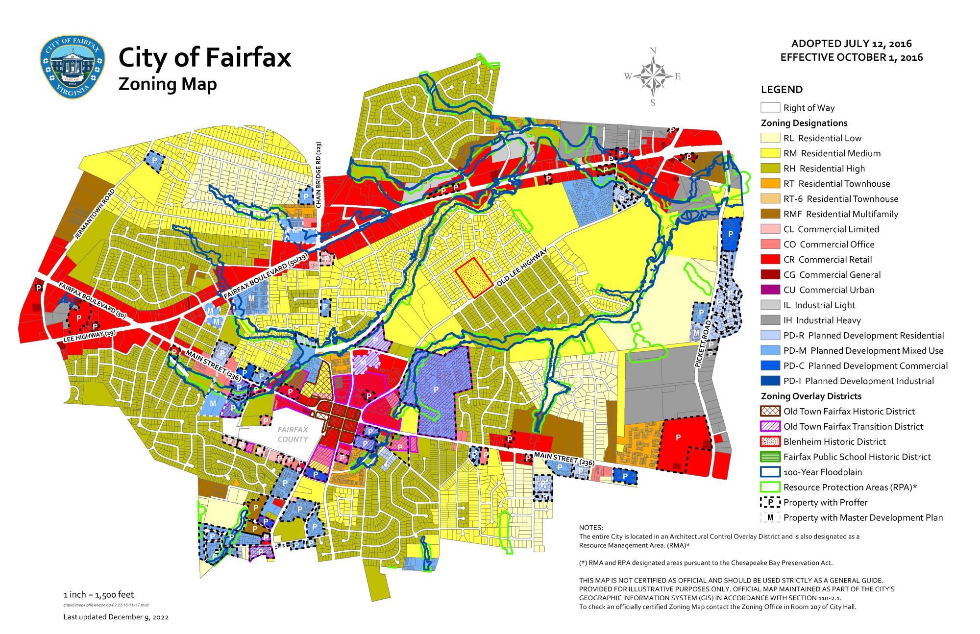 City Zoning Map Zoning Map | City of Fairfax, VA