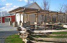Outside of Civil Interpretive Center at Historic Blenheim including patio and pergola