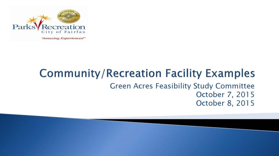 community center study green acres feasibility study city of